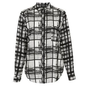 Topshop Abstract Check Print Button Down Blouse